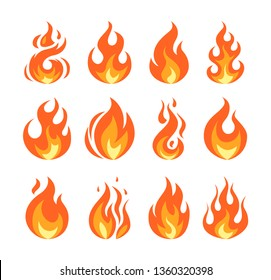 Set of vector flame icons. Simple illustrations of fire in flat style