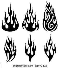 Set of vector flames