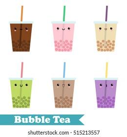 Set of vector flat bubble tea, Set of colorful bubble tea with fruit bubble. Kawaii set vector bubble tea