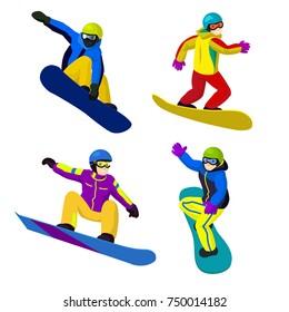 Set of vector flat cartoon snowboarders riding and jumping. Cartoon boys on snowboards. Winter sport, Winter activity, sportsman, snowboard, colorful snowboarders in sportive jumping snowboarders