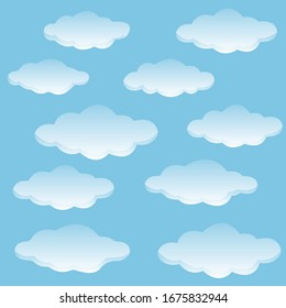 Set of vector flat clouds. Blue sky with white clouds. Vector illustration.