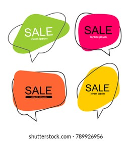 Set of vector flat colorful green, pink, orange and yellow speech bubble shaped banners, price tags, stickers, posters, badges. Isolated on white background
