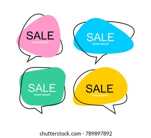 Set of vector flat colorful speech bubble shaped banners, price tags, stickers, posters, badges. Isolated on white background
