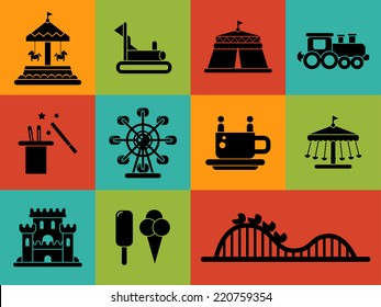 Set of vector flat design amusement park icons
