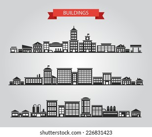 Set of vector flat design buildings pictograms