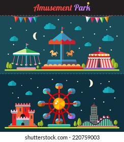 Set of vector flat design composition with amusement park elements