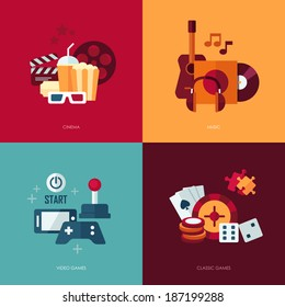 Set of vector flat design concept illustrations with icons of entertainment