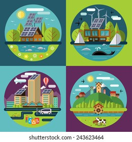 Set of vector flat design concept illustrations with icons of ecology, environment, recycling, green energy, eco city or eco village life