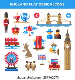 Set of vector flat design England travel icons and infographics elements with landmarks and famous London and United Kingdom symbols