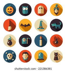 Set of vector flat design Halloween icons