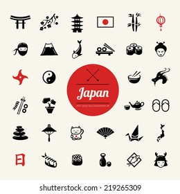 Set of vector flat design Japanese icons
