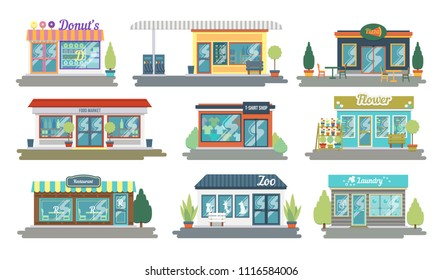 Set of vector flat design restaurants and shops facade icons. Includes shop of donuts and sweets, clothing store, flower shop, fueling, Laundry and other