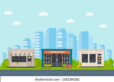 Set of vector flat design restaurants exterior and shops facade: coffee shop, supermarket. Store front window buildings icons with city background.