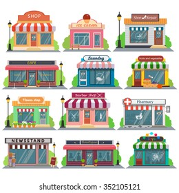 Set of vector flat design restaurants and shops facade icons.Includes shop,newspaper,coffee shop,ice cream shop, flower shop,vegetable store,Laundry, barber,shoe repair, pharmacy,boutique,toy store.