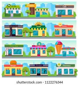 Set of vector flat design shops facade icons. The set contains: pet store, fresh fruit shop, cafe, beauty salon, farm shop, 24h shop, flower shop, donuts, ice cream, burgers, boutique, pharmacy.