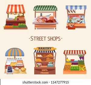 Set of vector flat design street shops. Fresh food on counters. Local farmers market. Vector illustration