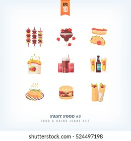 Set of vector flat fast food icons isolated on white background