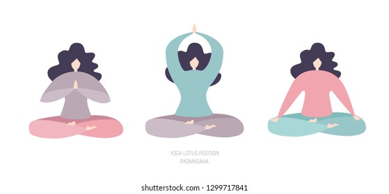 Set of vector flat female characters meditating in the Lotus pose with different hand positions isolated on white background. Three cute women in pastel blue, pink, violet colors. Yoga and meditation.