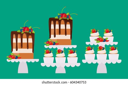 Set of vector flat icon: modern sponge cake with cream, chocolate glaze, berries and cupcakes