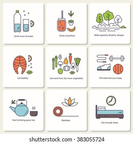Set of vector flat icons â?? healthy lifestyle and habits. Collection linear pictograms. Badges with diet and fitness elements -  fitness, exercise,  fresh air, proper nutrition, healthy food.