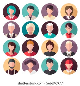 set of vector flat icons. People icons. avatars