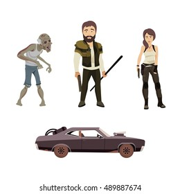 Set of Vector Flat Illustration on a Post Apocalypse Theme Including Man, Woman, Zombie and Car