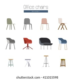 Set of a Vector Flat Illustration of Scandinavian Office Chairs