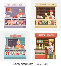 Set vector flat illustration. Store meat. The cheese shop. Shop seafood. The liquor store.