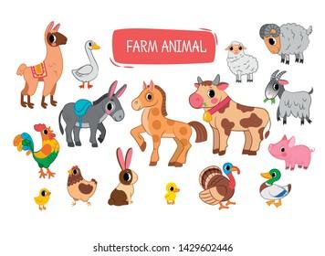 Set of vector flat illustrations of farm animals