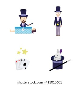 Set of Vector Flat Illustrations on a Theme of Magic. Includes Rabbit in Hat, Cards, Conjurer with Saw, Woman in Box and Illusionist with wand.
