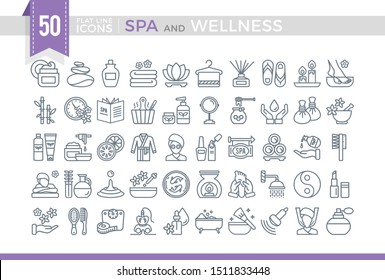 Set Vector Flat Line Icons SPA and Wellness