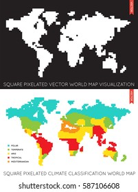 set of vector flat maps of the world infographic map data