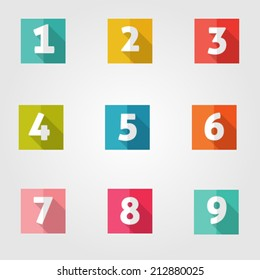 Set of vector flat number's icons