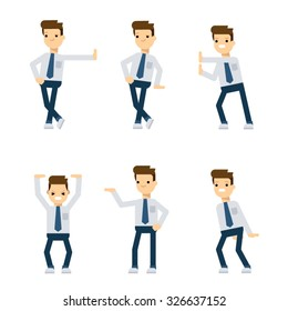 Set of vector flat style characters: office guy in different poses relative to pushing and holding something.