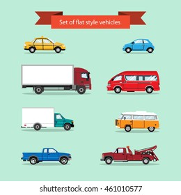 Set of vector flat style vehicles. Taxi cab, car, truck, lorry, minivan, pick up truck, utility truck. Vector illustration.