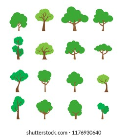 set Vector, of flat trees including pine and deciduous trees on White background.