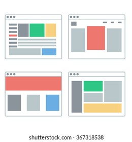 Set of vector flat web sites templates