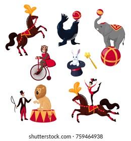 Set of vector flay cartoon circus animals horse elephant monkey seal lion