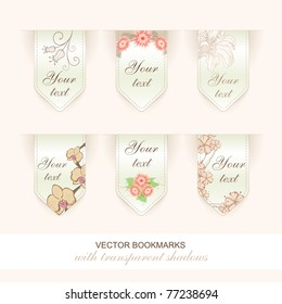 set of vector floral bookmarks / labels arrow shaped. transparent shadows, each grouped separately