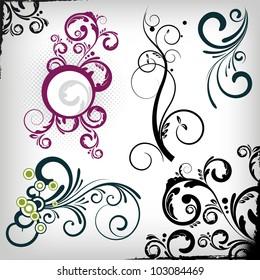a set of vector floral design elements.