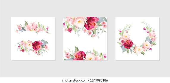 Set of vector floral elements and flowers in watercolor style for cards and wedding invitations.