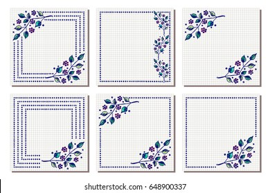Set vector floral frame card border stock vector 649633933 set of vector floral frame card border greeting cards different template with m4hsunfo Images