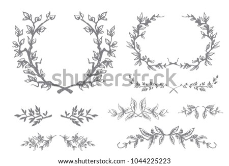 Set of vector floral scroll filigree design for wedding invitation and greeting card.