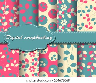 set of vector flower paper for scrapbook