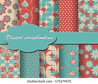 set of vector flower paper for scrapbook