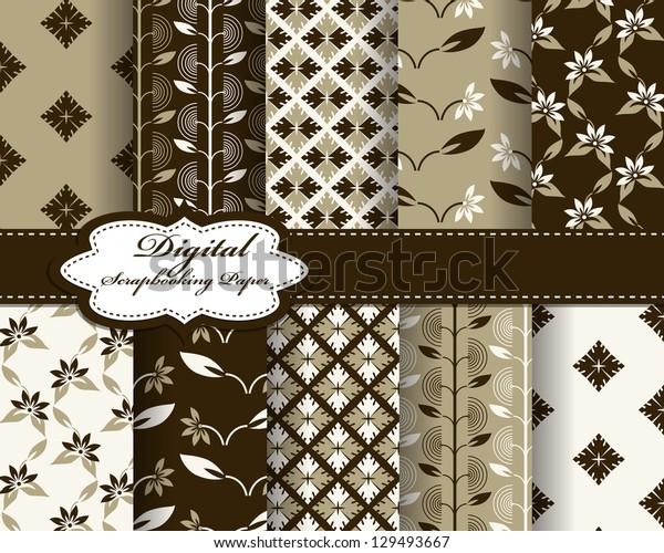 set of vector flower pattern paper for scrapbook