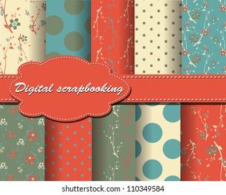 set of vector flower and polka dot paper for scrapbook