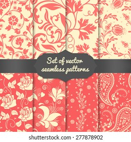 Set of vector flower seamless pattern backgrounds. Elegant textures for backgrounds, wallpapers etc.