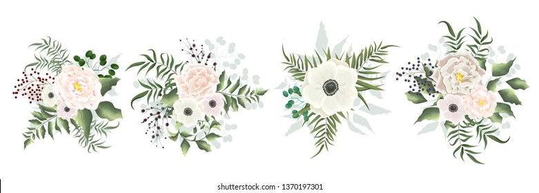 Set of vector flowers. Beige roses, anemones, berries, green leaves. All elements are isolated. Flowers on white background.