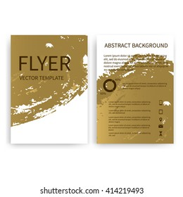 Set of vector flyer templates with gold watercolor paint splash. Watercolor imitation flyers. Abstract background for flyer business document, poster, card, report, publication, brochure, cover banner